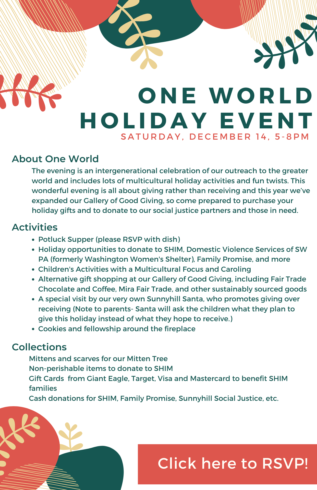 One World Holiday Event December 14 5-8pm